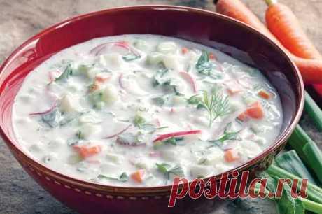 La okroshka sobre el kéfir con la gallina la receta poshagovo de la foto