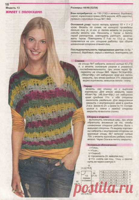 Knitting by spokes vests, sleeveless jackets | Records in the heading Knitting spokes vests, sleeveless jackets | About everything that interested...