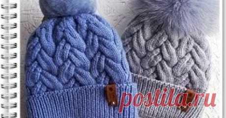 Шапка спицами с отворотом Схема и описание вязания шапки спицами с отворотом
