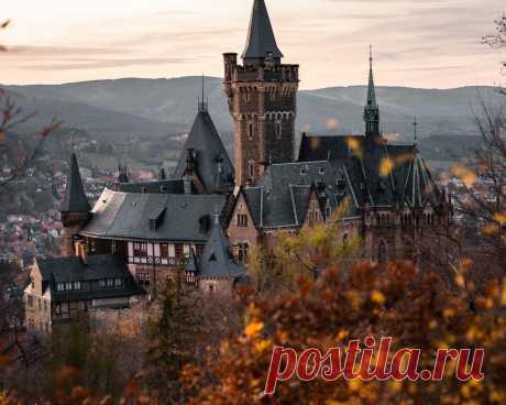 Картинки wernigerode castle, evening, sunset, wernigerode cityscape, landmark, wernigerode, saxony-anhalt, germany - обои 1280x1024, картинка №370391