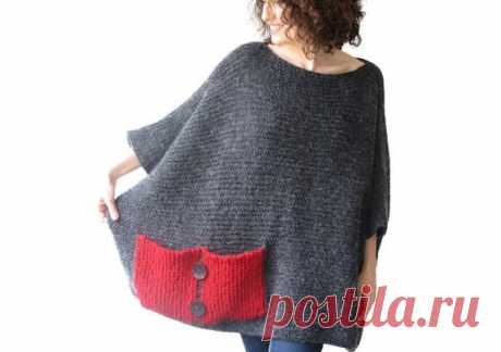 Plus Size - Over Size Sweater Dark Gray - Red Hand Knitted Sweater with Pocket Tunic - Sweater Dress by Afra This sweater is hand knitted with high quality, thin and anti allergic mohair yarns. It has a cute pocket. It is light weight, warm and cozy. Plus size, over size. 3/4 sleeves. But if you want i can knit with your special measurements. Any question, just convo.   -----------------Made in a