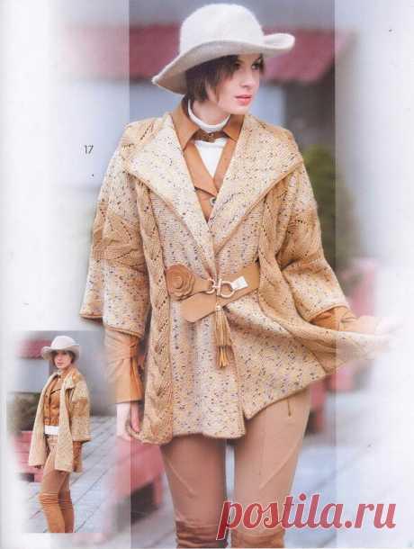 Кардиган спицами в очень приятной (кофе с молоком) цветовой гамме. Журнал Мод Вязание № 585