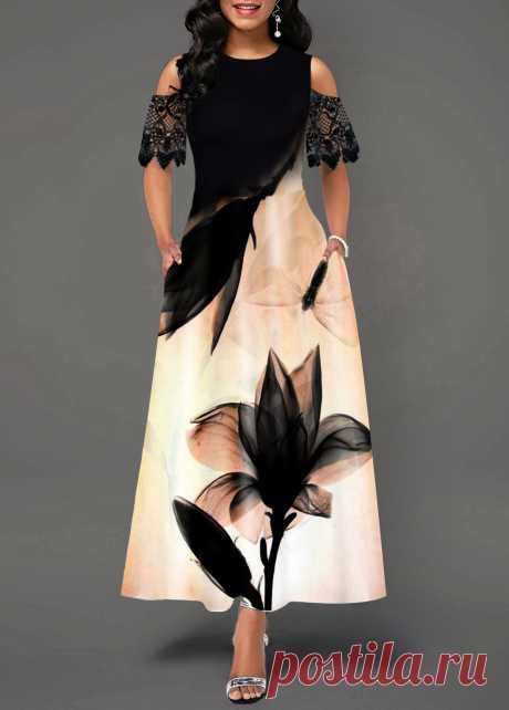 Cold Shoulder Lotus Print Lace Panel Maxi Dress