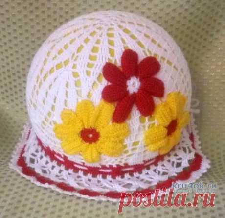 Вязаная шляпка крючком для девочки. Работа Ивановой Людмилы