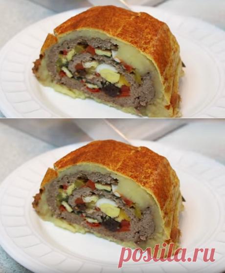Мясной рулет в картофельной шубке