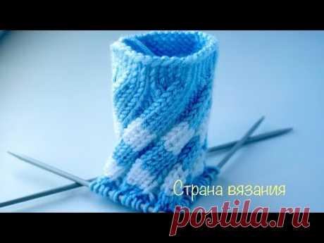 Узоры спицами Эстонская спираль, вязание по кругу. Estonian spiral pattern for knitting in a circle.