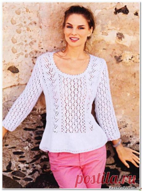 Белый пуловер с баской   Вязание для женщин спицами. Схемы вязания спицами