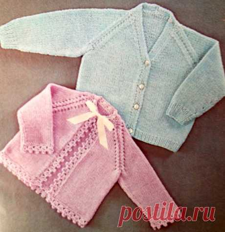 cb3eb2858dac3 vintage baby knitting pattern for cardigan and matinee jacket with crochet  edging 16 18 and 20