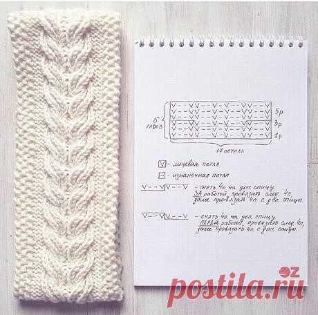 """""""Коса"""", схема для вязания"""
