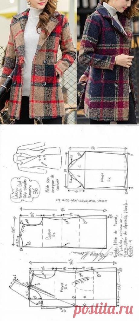 Плащ-пальто, простой воротник. Выкройки 36-56 размер- Marlene Mukai