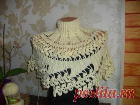 Манишка (накидка) крючком. Часть 2. Crochet Poncho, Cape.