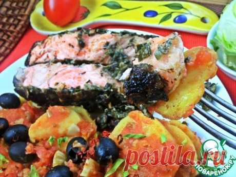 Томатный картофель к лососевому стейку - кулинарный рецепт