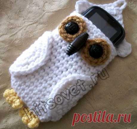 Вязаный чехол для телефона в виде милой,симпатичной совы
