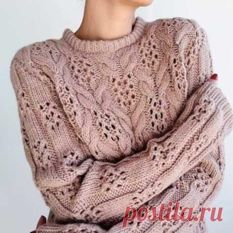 Чудесный узор для вязания свитера спицами. - Красивое вязание