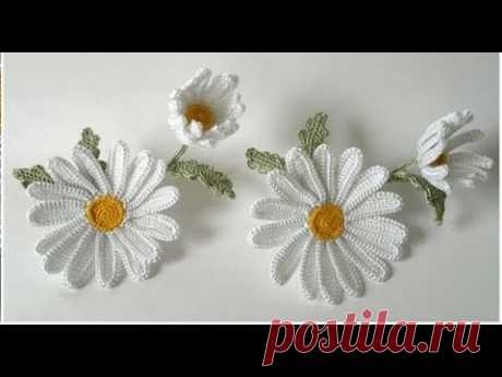 Как вязать ромашку крючком. Мастер-класс.  How to crochet chamomile flower.