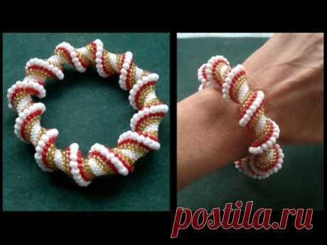 Cellini spiral done with regular and miyuki seedbeads beading tutorial