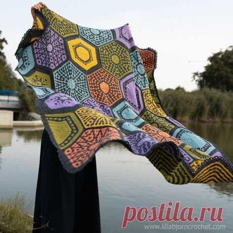 Одеяло Селестии: с любовью к мозаичному вязанию крючком   Мир вязания крючком Лиллабьерна