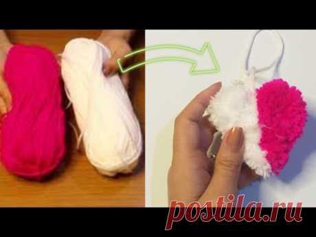 CORAÇÃO POM POM  ❤ Easy Pom Pom Heart Making with Fork - Amazing Craft Ideas with Wool