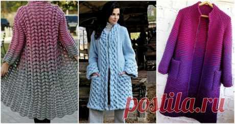 Вязанные пальто: стильно, оригинально, нетривиально ...