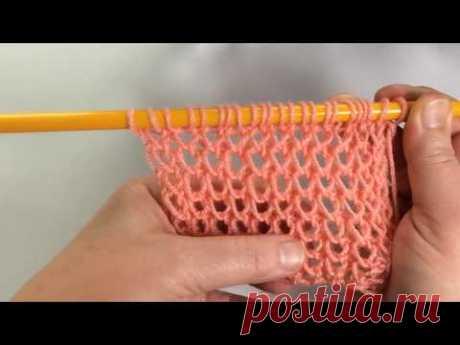 Ажурная сетка без накидов / Вязание спицами