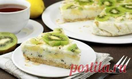 Йогуртовый торт с киви и бананом  низкокалорийный (80 ккал)