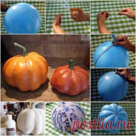 Como hacer simplemente la calabaza para la decoración\u000d\u000a#поделки #идеи_для_дачи