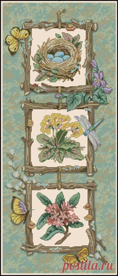 Любовь к природе. Сложная схема вышивки крестом.