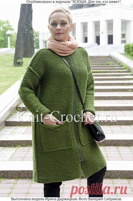 Пальто спицами с накладными карманами. - Пальто для женщин спицами - Вязание спицами - Каталог статей - Вязание спицами и крючком