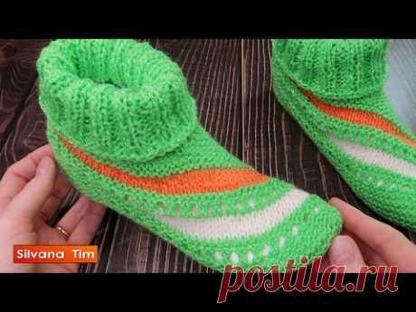 Cómo tejer Babuchas Pantuflas Zapato Bota tejido a DOS AGUJAS. Con diseño Lineas en Diagonal № 1040
