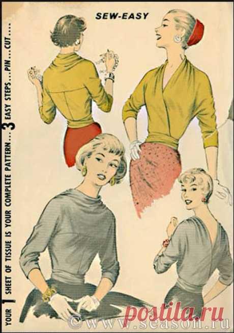 Шьем блузу - трансформер из 50-х. Любителям ретро-моды посвящается!