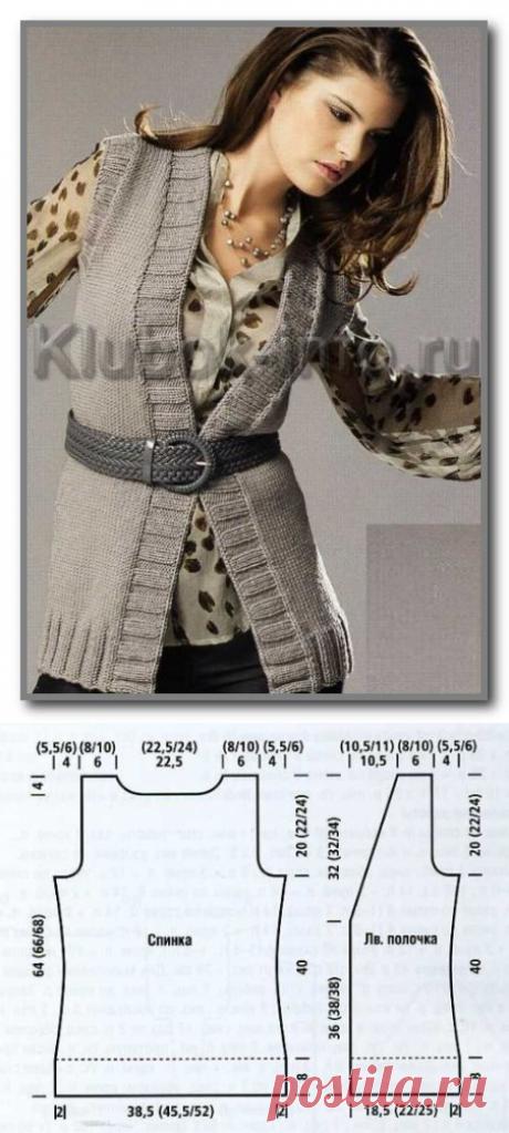 Вязание спицами. Удлиненный приталенный жилет без застежки