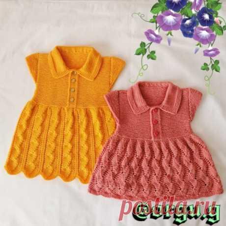 Вот такие платьица для моих внучек модниц связались у меня. Жёлтое платье на 3-4 года, а розовое на 2-3 года. Пряжа Kartopu Baby One. Оставляю схемы узоров, остальное я уже импровизировала. ...................................... Работа нашей подписчицы.