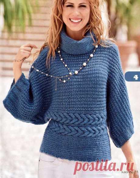 Пуловер-кимоно Вязаный спицами пуловер-кимоно. Описание