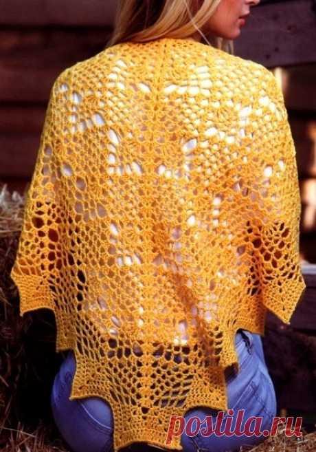 Ажурная шаль крючком. Схемы. / knittingideas.ru