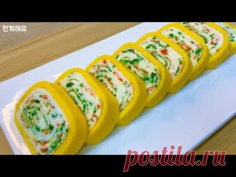 Как приготовить корейские яичные рулетики :: Красивый рулет из яичницы :: 36 блюд