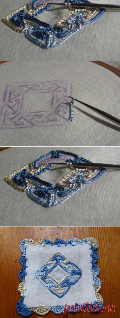 Удивительная вышивка крючком на ткани…