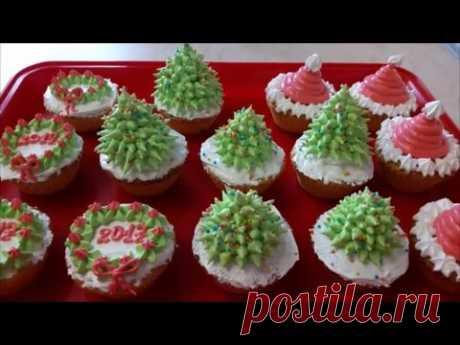 Рецепт кексов  Кексы на желтках НОВОГОДНЕЕ украшение белково заварным кремом cake decoration
