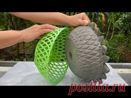 Creatve Unique Tree Pot From Cement and Plastic Baskets