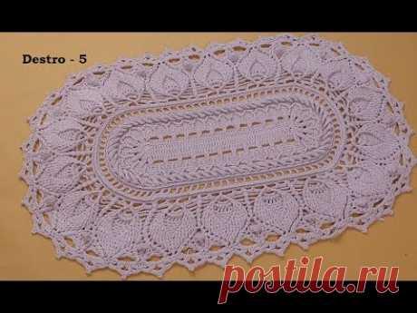 vídeo aulas crochê - Tapete Pinhus oval ( DESTRO) 5/5