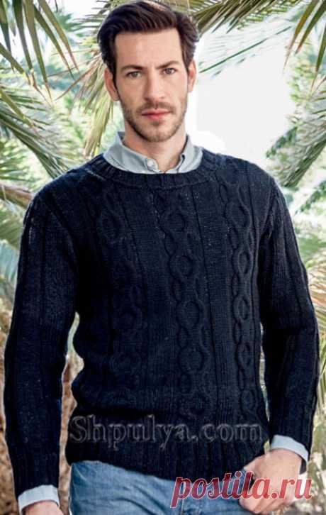 Тёмно-синий мужской пуловер спицами