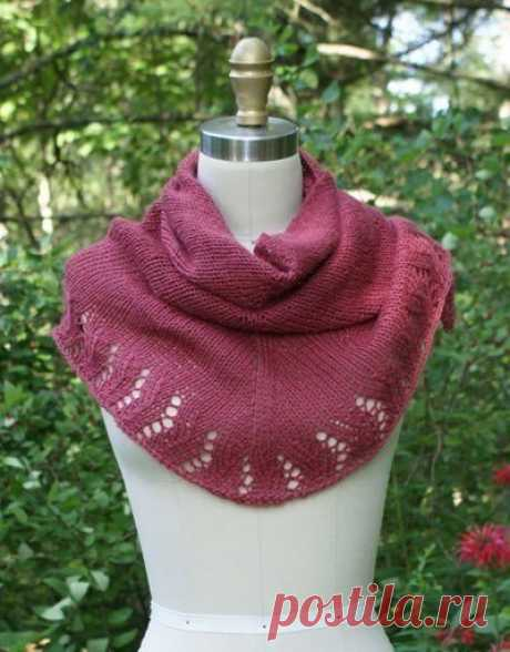Женственный платок, вяжем спицами