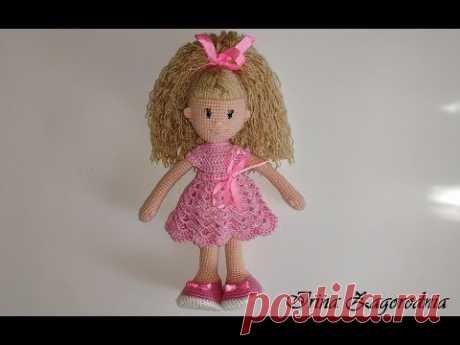 Вязаная кукла-видео урок для начинающих.Ч 1.Кукла из пряжи-амигуруми.