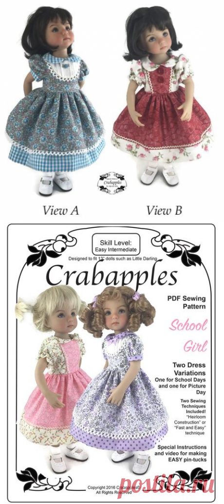 Crabapples School Girl Doll Clothes Pattern 13 inch Little Darling Dolls | Pixie Faire