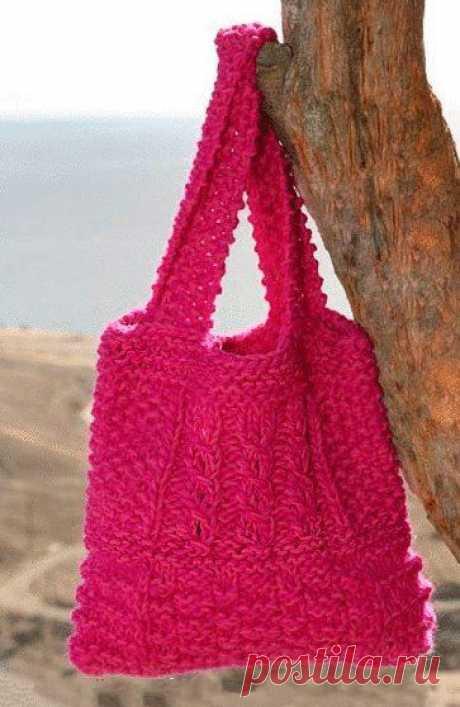 Стильная сумочка спицами из категории Интересные идеи – Вязаные идеи, идеи для вязания