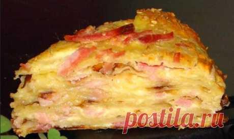 Быстрый пирог с сыром и сосисками « Рецепты пирогов