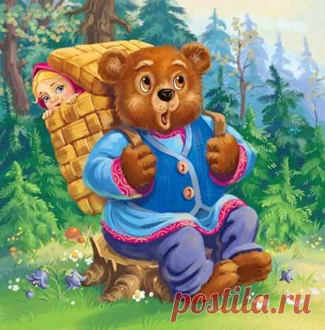 Одна из любимых русских народных сказок про Машу и Медведя. Иллюстрация отлично описывает сюжет сказки, где умная девочка Маша смогла перехитрить Медведя.