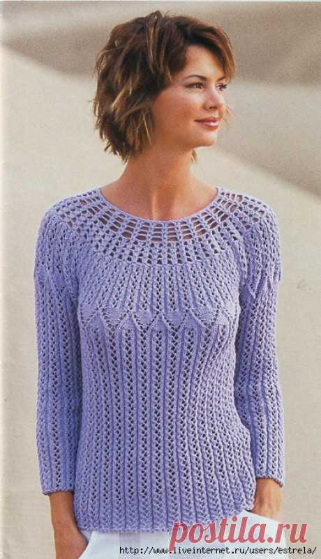 Pullover with the round coquette (spokes + a hook)