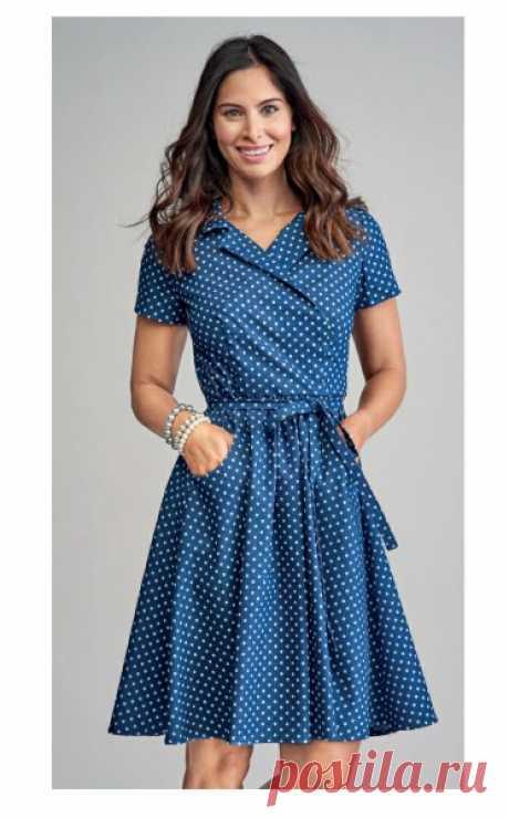 Женское платье с запахом  Размеры выкройки: 8-20 UK