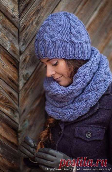Симпатичные и практичные шапка и снуд (Вязание спицами) – Журнал Вдохновение Рукодельницы