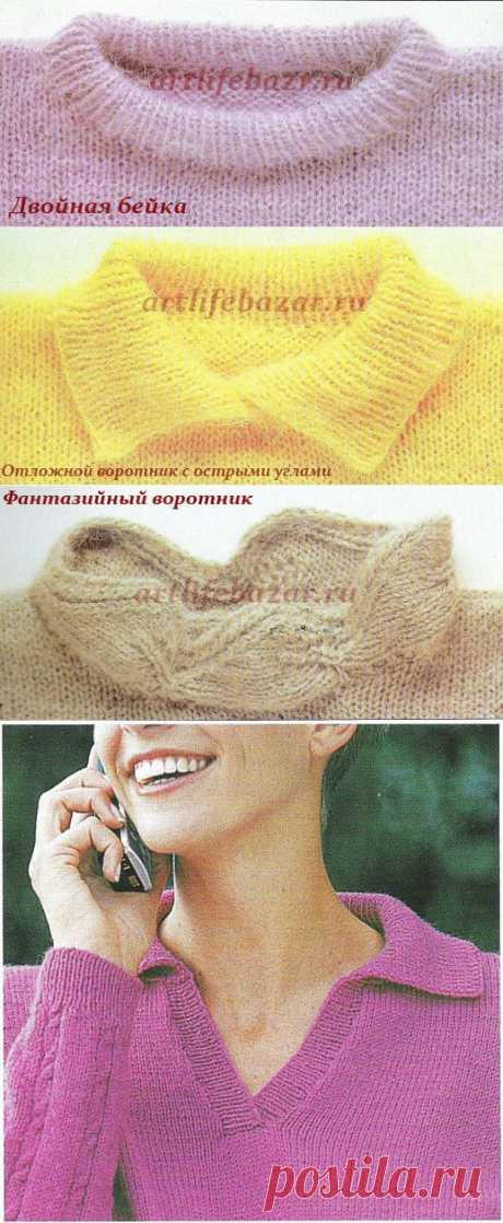 Вязание горловины спицами.